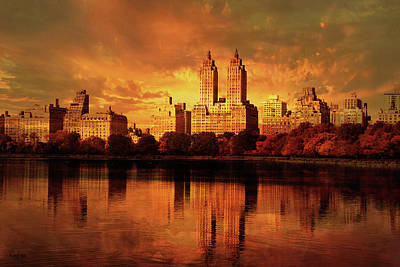 City Sunset Mixed Media - New York by KaFra Art