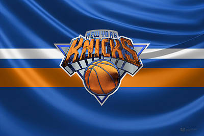 New York Knicks - 3 D Badge Over Flag Art Print by Serge Averbukh