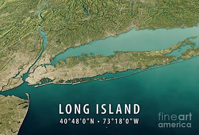People Digital Art - New York Long Island 3d Render Satellite View Topographic Map Ho by Frank Ramspott