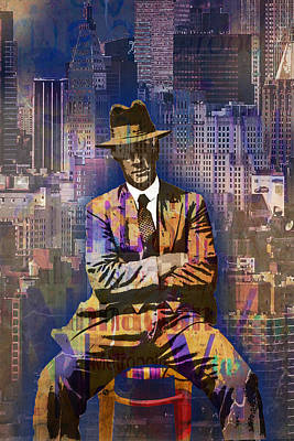 Fedora Painting - New York Man Seated City Background 1 by Tony Rubino