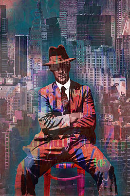 Fedora Painting - New York Man Seated City Background 2 by Tony Rubino