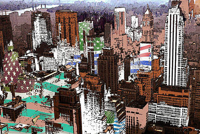 Drawing - New York Mid Manhattan Skyline 1999 - Modern Art by Peter Potter