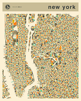 New York Digital Art - New York Map 2 by Jazzberry Blue