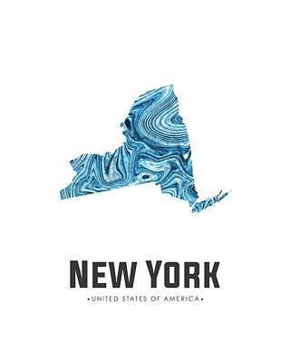 Mixed Media - New York Map Art Abstract In Blue by Studio Grafiikka