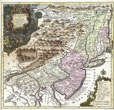 Digital Art - New York Map Circa 1756 by Melissa Messick