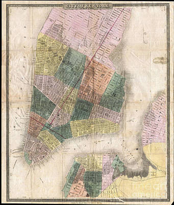 Digital Art - New York Map Circa 1835 by Melissa Messick