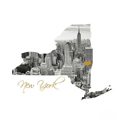 Digital Art - New York Map Cut Out by Leah McPhail