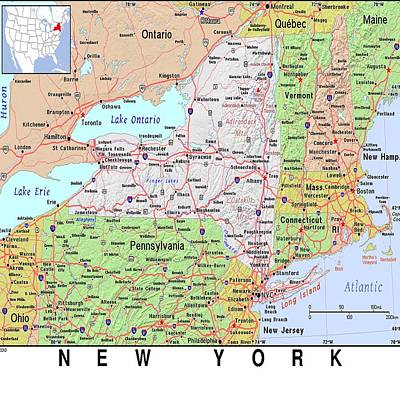 Photograph - New York Map by Florene Welebny