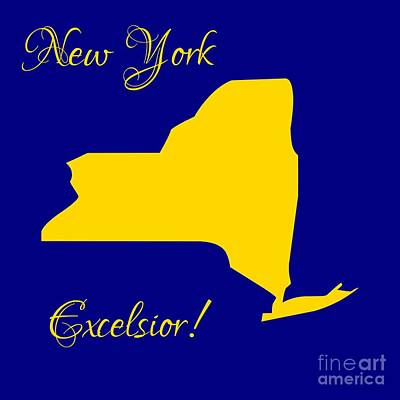 Map Of New York Digital Art - New York Map In State Colors Blue And Gold With State Motto Excelsior by Rose Santuci-Sofranko