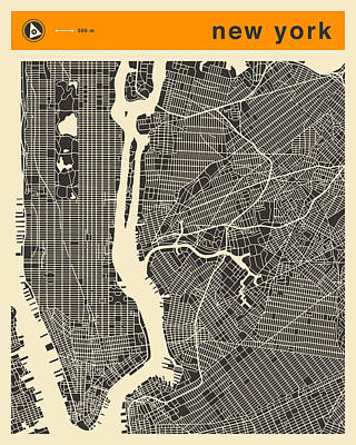 Landscape Digital Art - New York Map by Jazzberry Blue