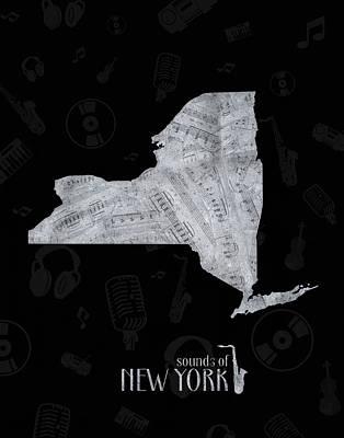 Digital Art - New York Map Music Notes 2 by Bekim Art