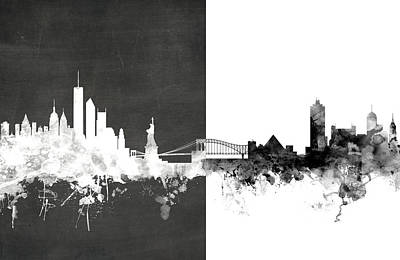 New York Memphis Skyline Mashup Art Print by Michael Tompsett