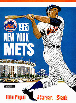 Shea Stadium Painting - New York Mets 1965 Official Program by Big 88 Artworks