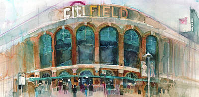 New York Mets Art Print Citifield Art Print by Dorrie Rifkin