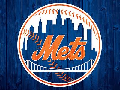 Athletes Mixed Media - New York Mets Barn Door by Dan Sproul