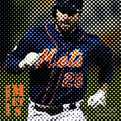 Baseball Drawing - New York Mets Dots News by Pablo Franchi
