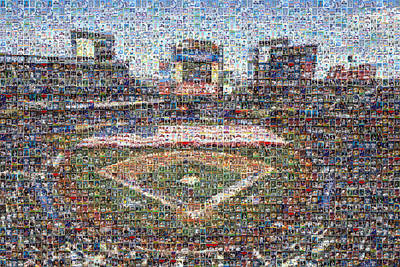 New York Mets Digital Art - New York Mets Mosaic Art Print Made Of Over 275 Met Player Cards, All The Greats. by Steve Davey