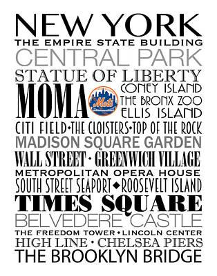 New York Mets Digital Art - New York Mets Subway Art by Marian Schumer