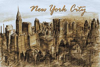 Drawing - New York City - Mid Manhattan by Art America Gallery Peter Potter