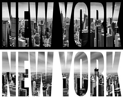 Black Digital Art - New York New York by Az Jackson