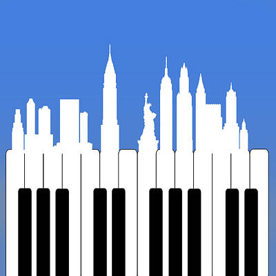 Piano Painting - New York New York by Mark Ashkenazi
