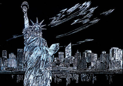 Drawing - New York New York New York  by Saad Hasnain