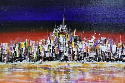 London Skyline Paintings - New York Night Scene by Irina Rumyantseva