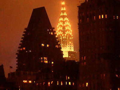 Photograph - New York Night Skyline With Chrysler Building by Art America Gallery Peter Potter
