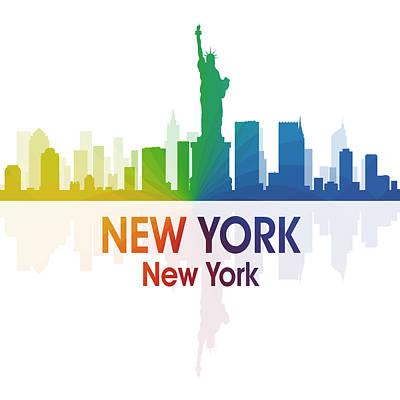 Ny Skyline Mixed Media - New York Ny 1 Squared by Angelina Vick