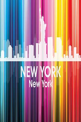 Ny Skyline Mixed Media - New York Ny 2 Vertical by Angelina Vick