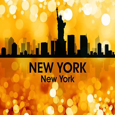 Ny Skyline Mixed Media - New York Ny 3 Squared by Angelina Vick