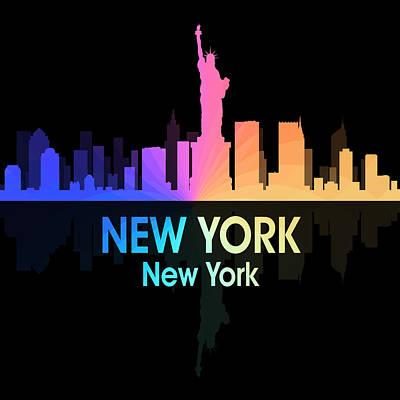 Ny Skyline Mixed Media - New York Ny 5 Squared by Angelina Vick