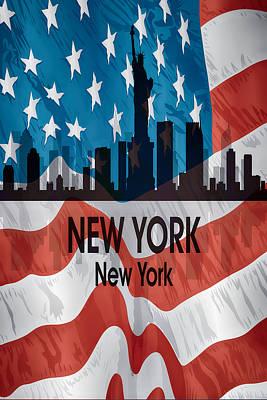 Ny Skyline Mixed Media - New York Ny American Flag Vertical by Angelina Vick