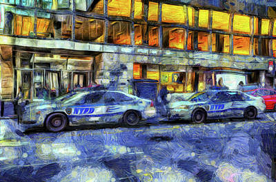 Police Van Photograph - New York Police Department Van Gogh by David Pyatt