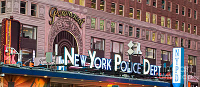 New York Police Times Square Print by Terry Weaver