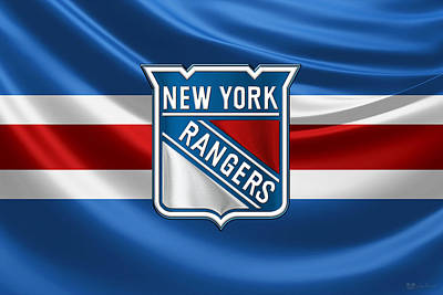 Sports Digital Art - New York Rangers - 3 D Badge Over Silk Flag by Serge Averbukh
