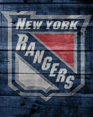 Athletes Mixed Media - New York Rangers Barn Door by Dan Sproul