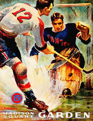 Hockey Painting - New York Rangers Vintage Three Poster by Big 88 Artworks