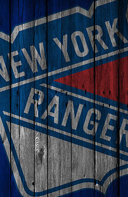 Hockey Player Painting - New York Rangers Wood Fence by Joe Hamilton