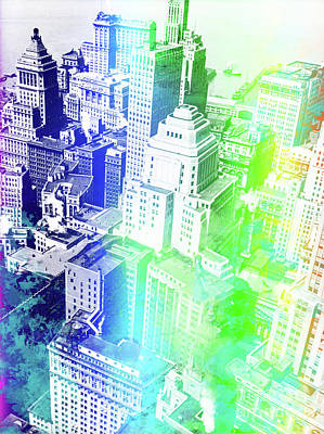 Pop Art Royalty-Free and Rights-Managed Images - New York Rooftops watercolor by Delphimages Photo Creations