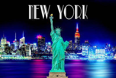 Skylines Royalty-Free and Rights-Managed Images - New York Shines by Az Jackson