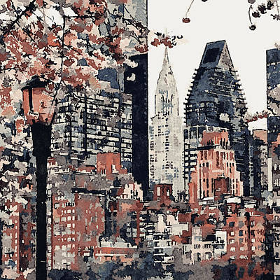 Digital Art - New York Side View by Yury Malkov