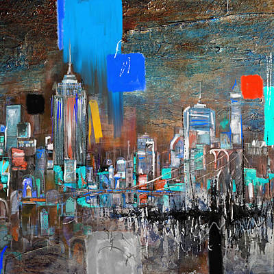 Chicago Oil Painting - New York Skyline 198 3 by Mawra Tahreem