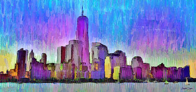 Terrorism Painting - New York Skyline 2 - Pa by Leonardo Digenio
