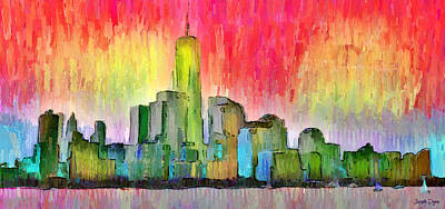 Terrorism Painting - New York Skyline 3 - Pa by Leonardo Digenio