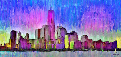 New York Skyline 4 - Pa Art Print by Leonardo Digenio