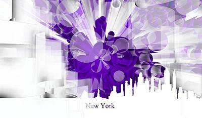 Violet Digital Art - New York Skyline 5 by Alberto RuiZ