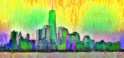 Terrorism Painting - New York Skyline 5 - Pa by Leonardo Digenio