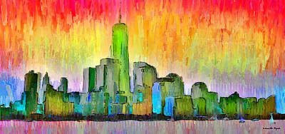 Exterior Digital Art - New York Skyline 6 - Da by Leonardo Digenio