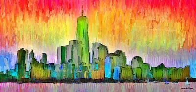 Manhatan Painting - New York Skyline 6 - Pa by Leonardo Digenio